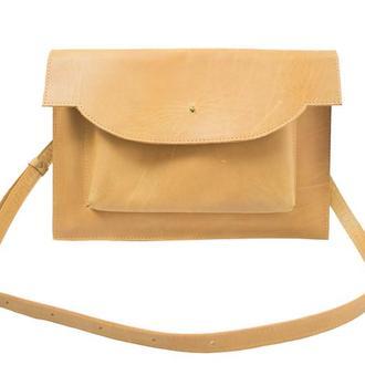 Кожаный чехол для Macbook с ремешком. 03010/желтый