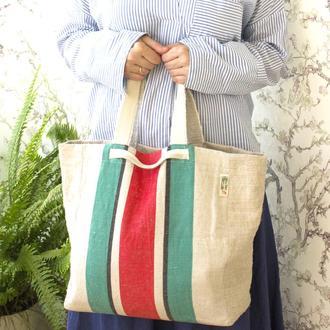 Сумка Лен (100%). Большая Крепкая и универсальная сумка шоппер с хб подкладом и карманом.