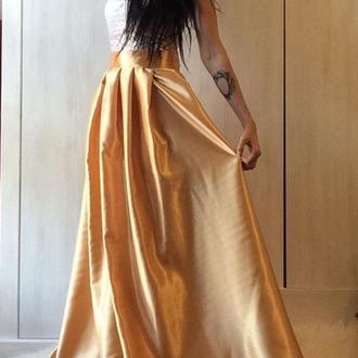 атласная юбка в пол, атласная юбка макси, свадебная юбка из атласа, вечерняя нарядная юбка в пол