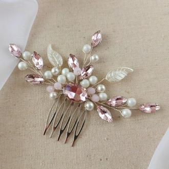 Бело-розовый гребень для волос