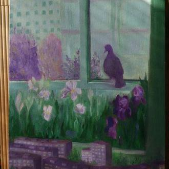 Голубь на каштановой, Картина маслом холст на картонке сюрреализм