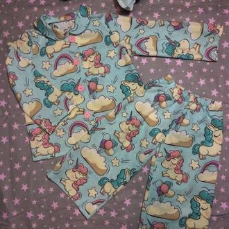 детская пижама Бирюзовые единорожки, фланель, хлопок