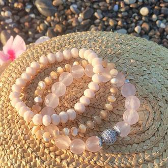 Набор браслетов из натуральных камней, браслет из розового кварца, перламутра, горного хрусталя