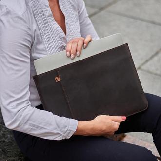 Кожаный чехол для ноутбука MacBook Pro, MacBook Air, Asus, Dell, Lenovo, HP, Honor с подкладкой