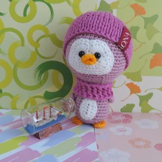Пингвиненок Аннет мягкая вязаная игрушка