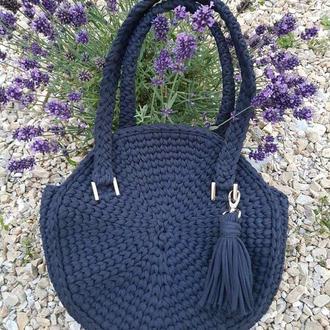 Круглая вязанная сумочка, синяя сумка из пряжи, кежуал, кругляшка, Киев Днепр Одесса