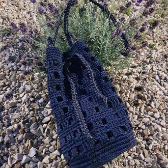 Сумка вязанная через плечо. сумка авоська, сумка с круглым дном.