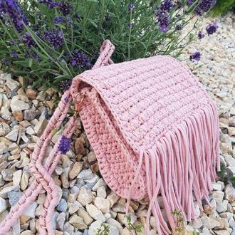 Сумка в стиле бохо. Пудровая вязанная сумка с бахромой. Сумка из толстой пряжи Львов Киев