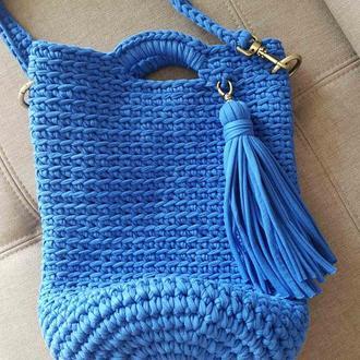 Яркая синяя вязанная сумка, сумка ультрамарин, кежуал, стильная сумка Киев, Харьков