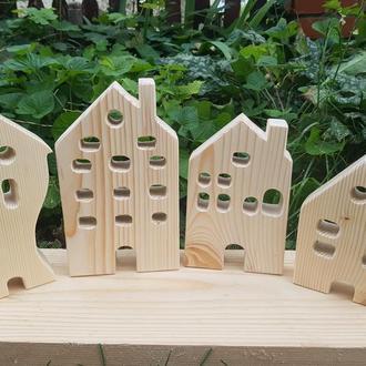 """Дерев'яні гарненькі будиночки для гри Нового року, Різдва Красивий декор будинку Дерев""""яні будиночки"""