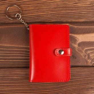 Обложка-брелок для прав автодукументов нового паспорта на документы (красный)