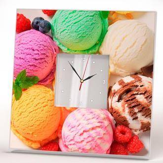 """Современные часы с декором """"Мороженное"""" на кухню или в детскую"""