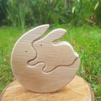 Деревянный пазл игрушка качалка  зайци кролики Сім'я зайців кролів