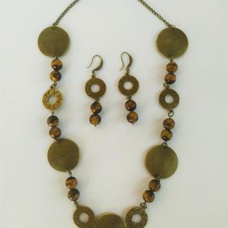 Стильное ожерелье и серьги с натуральным камнем тигровый глаз