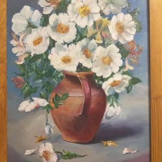 """Картина маслом """"Цветы в вазе"""" в деревянной раме"""