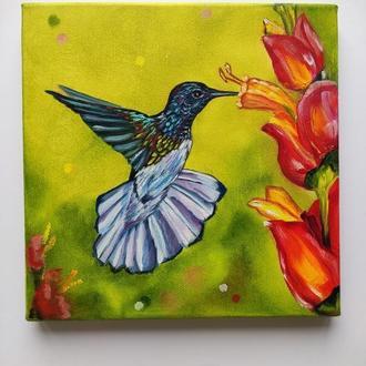 """Картина маслом """"Колібрі"""" 20х20 см, Тропічна пташка, Живопис олією"""