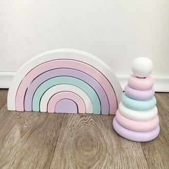 Набор деревянная радуга и пирамидка