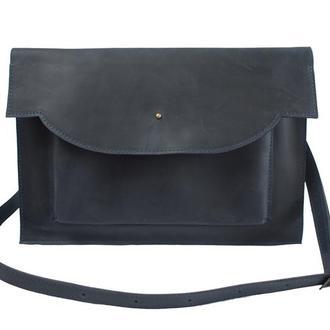 Кожаный чехол для Macbook с ремешком. 03010/синий
