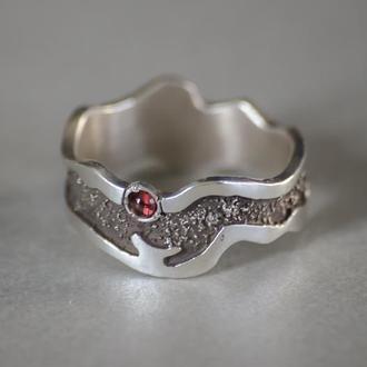 серебрянное кольцо с гранатом, кольцо унисекс, мужское кольцо