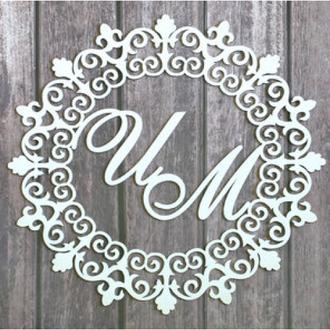 """Монограмма """"Кружево""""в президиум на свадьбу 40х40 см"""