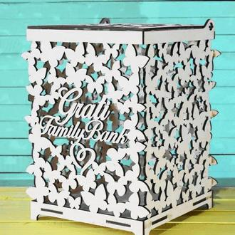 Свадебная Казна для Денег с ИНИЦИАЛАМИ Деревянная коробка копилка на свадьбу Весільна скарбниця