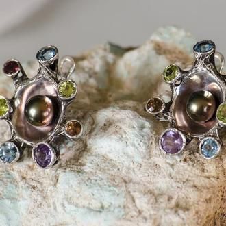 Серебрянные серьги с жемчужиной и натуральными камнями