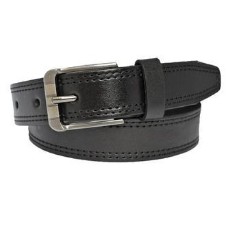 Elegant ремень кожаный пояс кожанный детский подростковый черный со строчкой прошитый