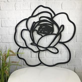 Декоративное деревянное панно на стену в форме розы