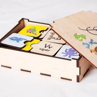 Развивающий Деревянный детский пазл алфавит английский с цветными картинками