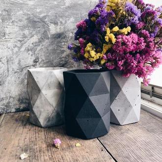 Ваза ГЕКСА ((декор, лофт, ваза для сухоцветов, ваза под косточки)