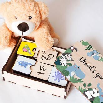 Детский деревянный пазл английская азбука с цветными картинками