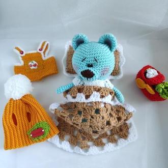 Игрушечный набор вязанные мишки Блу Тедди+одежда+Сумка с вкусняшками +постельное белье