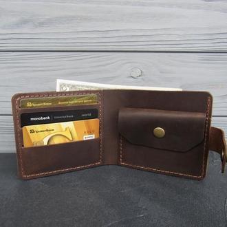 Стильный кожаный мужской кошелек на кнопках_мужское портмоне