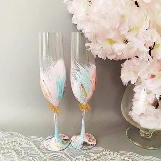 Свадебные бокалы  с золотой фольгой   Код: 10411-1