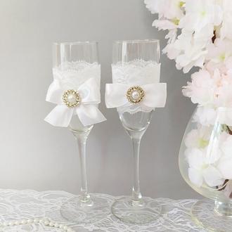 Свадебные бокалы  с брошью Код: 10403