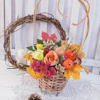 Подарок учителю. Осенняя композиция в плетеной корзинке