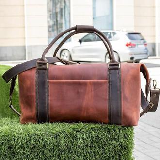 Дорожная коричневая сумка. Кожаная мужская спортивная сумка