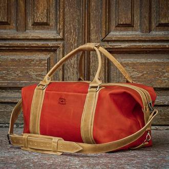 Красная спортивная сумка, Кожаная дорожная сумка мужская