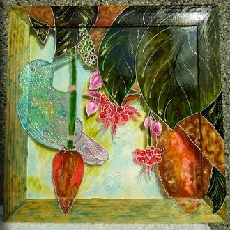 Картина на стекле Колибри