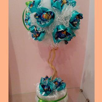 Декоративное дерево с конфетами Бирюзовый тюльпан