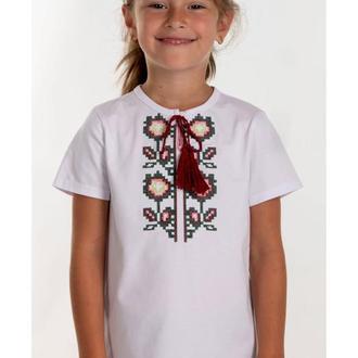 Вышитая футболка для девочки (6019)