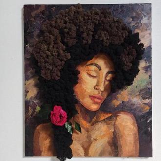 картина - портрет женщины масляными красками и стабилизированным мхом