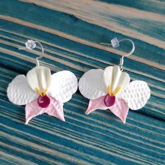 """Серьги """"Белые орхидеи"""""""