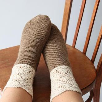 Вязаные носки Rustic (бежево-коричневые)