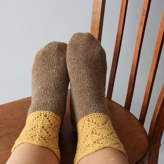 Вязаные носки Rustic (горчично-коричневые)