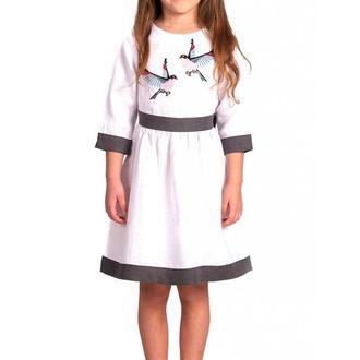 Вышитая льняная платье для девочки (6007)