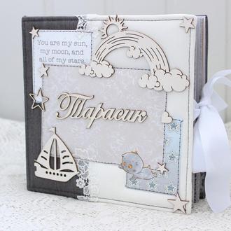 Скрап альбом для хлопчика , фотоальбом для новонародженого хлопчика , подарунок на народження