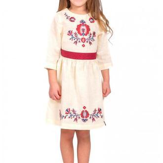 Вышитая льняная платье для девочки (6006)