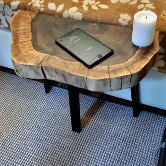 Прикроватный столик из среза ореха в стиле лофт 2шт.