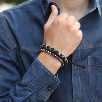 Комплект Браслетов мужской черный с серым, паракорд и натуральные камни